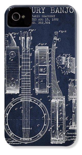 Banjo Patent Drawing From 1882 - Blue IPhone 4s Case