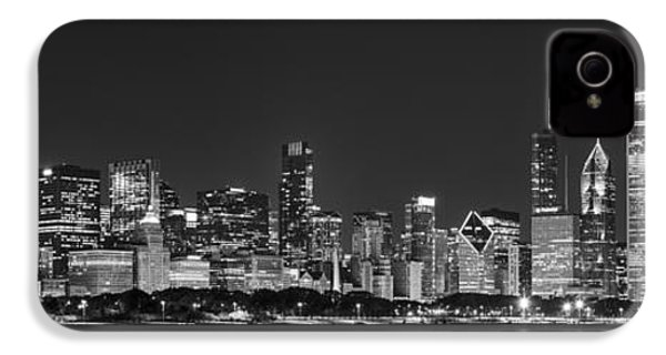 Chicago Skyline At Night Black And White Panoramic IPhone 4s Case by Adam Romanowicz