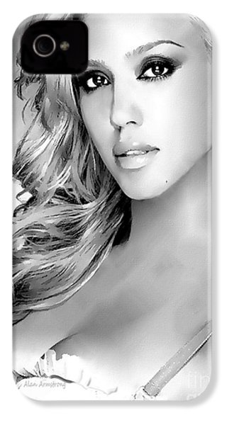 #1 Jessica Alba IPhone 4s Case by Alan Armstrong
