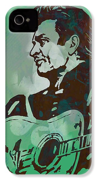 Johnny Cash - Stylised Etching Pop Art Poster IPhone 4s Case by Kim Wang