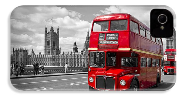 London - Houses Of Parliament And Red Buses IPhone 4s Case