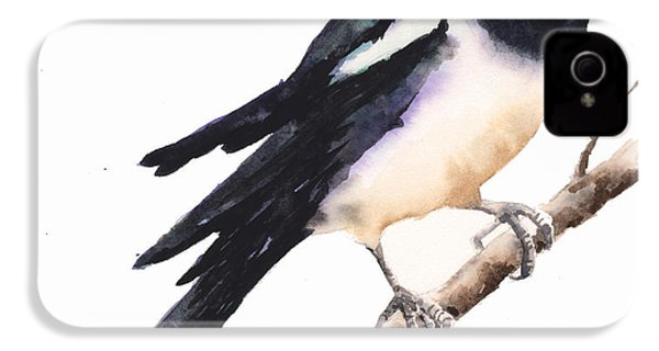 Magpie Painting IPhone 4s Case by Alison Fennell