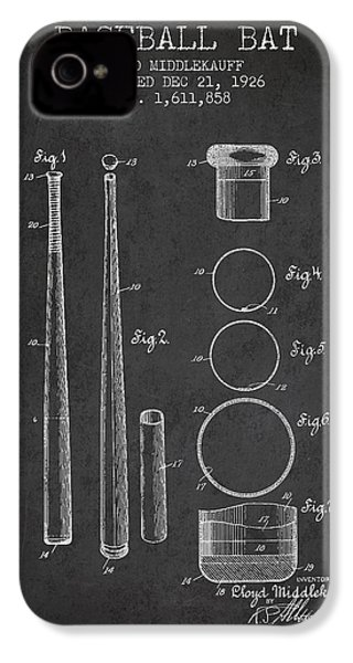 Vintage Baseball Bat Patent From 1926 IPhone 4s Case by Aged Pixel