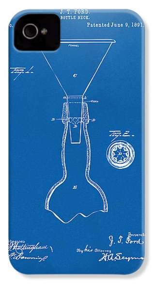 1891 Bottle Neck Patent Artwork Blueprint IPhone 4s Case by Nikki Marie Smith