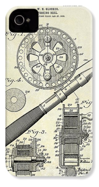 1906 Fishing Reel Patent Drawing IPhone 4s Case by Jon Neidert