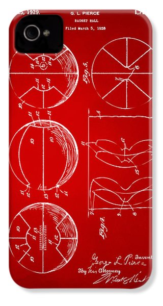1929 Basketball Patent Artwork - Red IPhone 4s Case by Nikki Marie Smith
