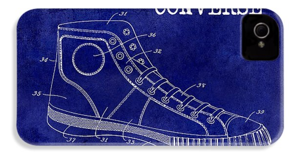 1934 Converse Shoe Patent Drawing Blue IPhone 4s Case by Jon Neidert