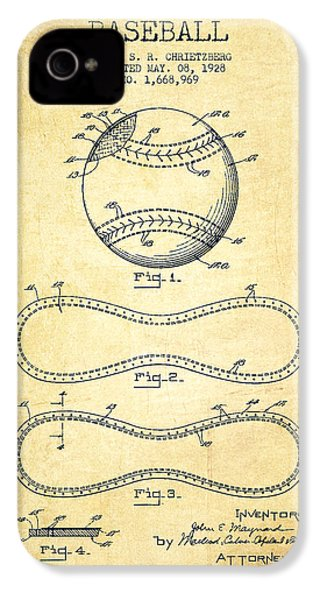 Baseball Patent Drawing From 1928 IPhone 4s Case by Aged Pixel