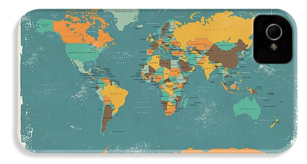 Retro Political Map Of The World IPhone 4s Case by Michael Tompsett