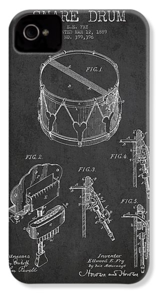 Vintage Snare Drum Patent Drawing From 1889 - Dark IPhone 4s Case