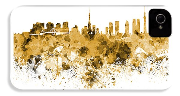 Tokyo Skyline In Watercolor On White Background IPhone 4s Case by Pablo Romero