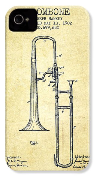 Trombone Patent From 1902 - Vintage IPhone 4s Case by Aged Pixel
