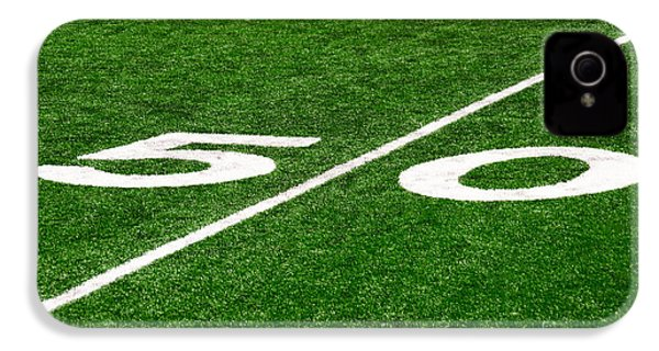 50 Yard Line On Football Field IPhone 4s Case by Paul Velgos