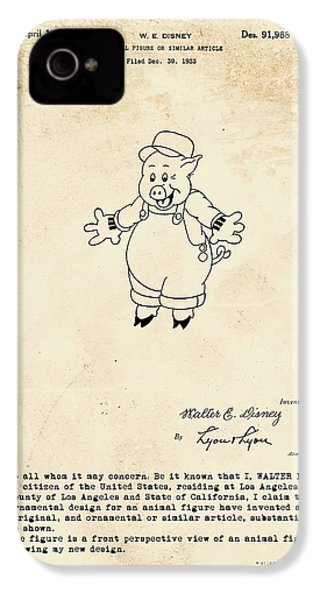Disney Pig Patent IPhone 4s Case by Marlene Watson