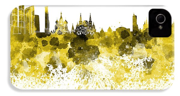 Moscow Skyline White Background IPhone 4s Case by Pablo Romero