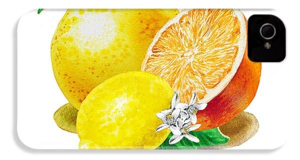 A Happy Citrus Bunch Grapefruit Lemon Orange IPhone 4s Case by Irina Sztukowski