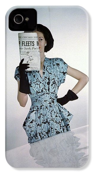 A Model Wearing A Floral Blue Dress IPhone 4s Case by Constantin Joff?