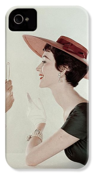 A Model Wearing A Sun Hat And Dress IPhone 4s Case by John Rawlings