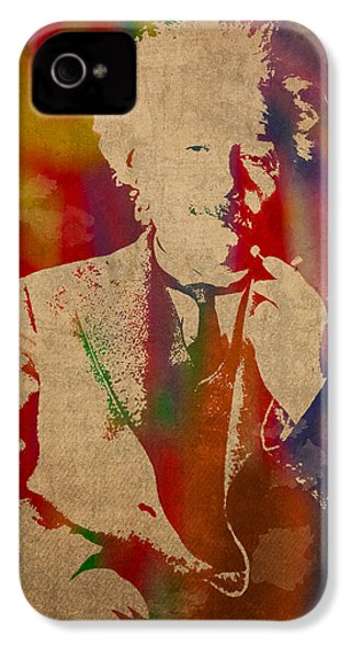 Albert Einstein Watercolor Portrait On Worn Parchment IPhone 4s Case by Design Turnpike
