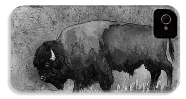Monochrome American Buffalo 3  IPhone 4s Case by Hailey E Herrera