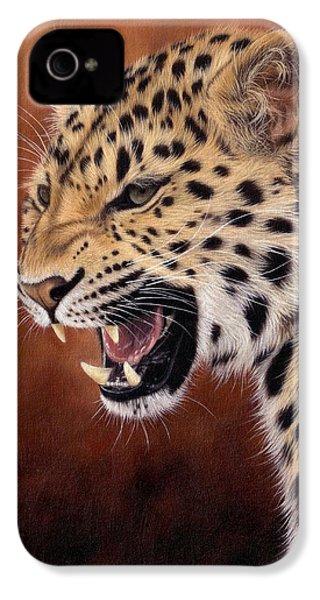 Amur Leopard Painting IPhone 4s Case by Rachel Stribbling