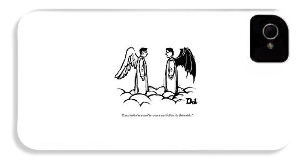 An Angel With Bat Wings Speaks To An Angel IPhone 4s Case by Drew Dernavich