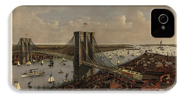 Antique Birds Eye View Of The Brooklyn Bridge And New York City By Currier And Ives - 1885 IPhone 4s Case by Blue Monocle