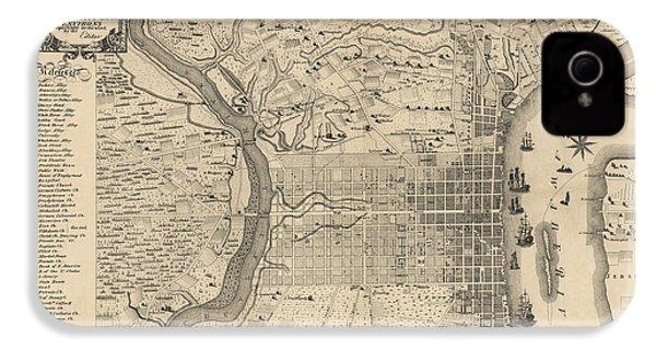 Antique Map Of Philadelphia By P. C. Varte - 1875 IPhone 4s Case by Blue Monocle