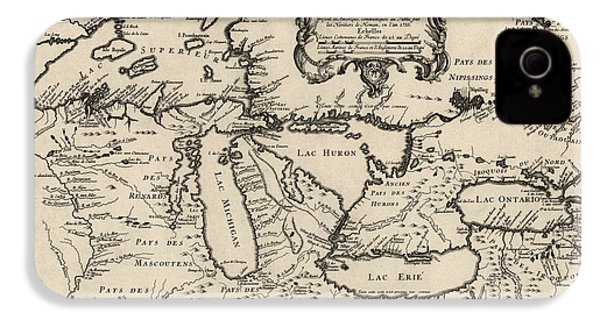 Antique Map Of The Great Lakes By Jacques Nicolas Bellin - 1755 IPhone 4s Case by Blue Monocle