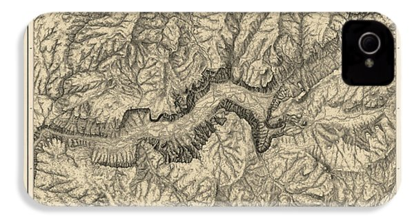 Antique Map Of Yosemite National Park By George M. Wheeler - Circa 1884 IPhone 4s Case by Blue Monocle