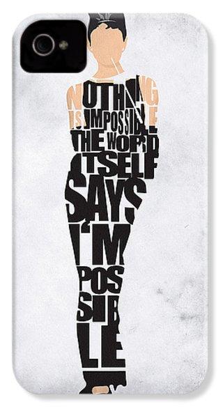 Audrey Hepburn Typography Poster IPhone 4s Case by Ayse Deniz
