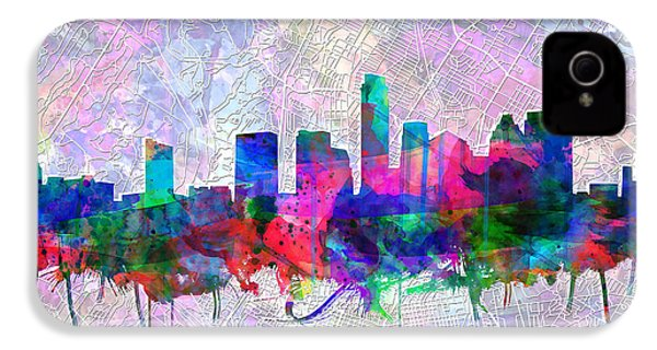Austin Texas Skyline Watercolor 2 IPhone 4s Case