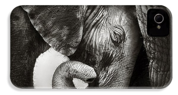 Baby Elephant Seeking Comfort IPhone 4s Case by Johan Swanepoel