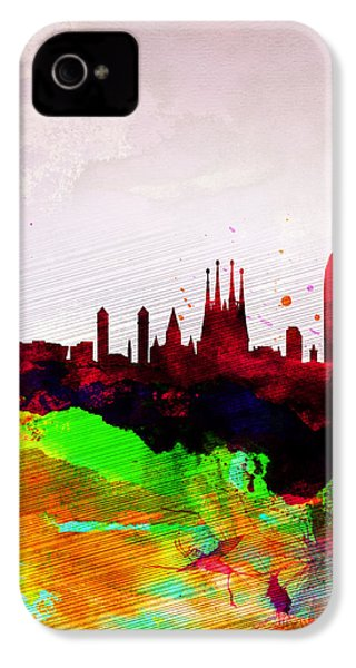 Barcelona Watercolor Skyline IPhone 4s Case by Naxart Studio