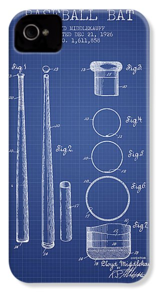 Baseball Bat Patent From 1926 - Blueprint IPhone 4s Case by Aged Pixel