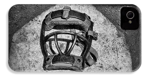 Baseball Catchers Mask Vintage In Black And White IPhone 4s Case by Paul Ward
