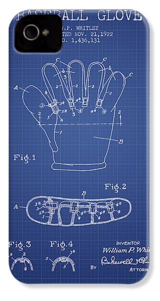 Baseball Glove Patent From 1922 - Blueprint IPhone 4s Case by Aged Pixel