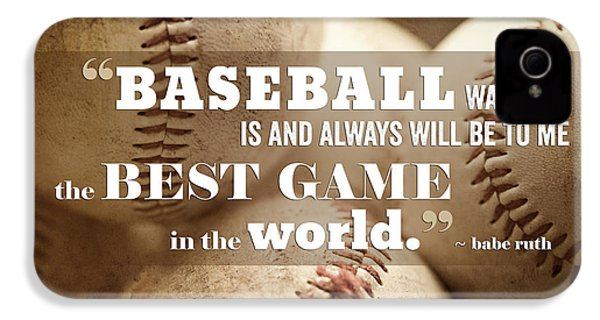Baseball Print With Babe Ruth Quotation IPhone 4s Case by Lisa Russo
