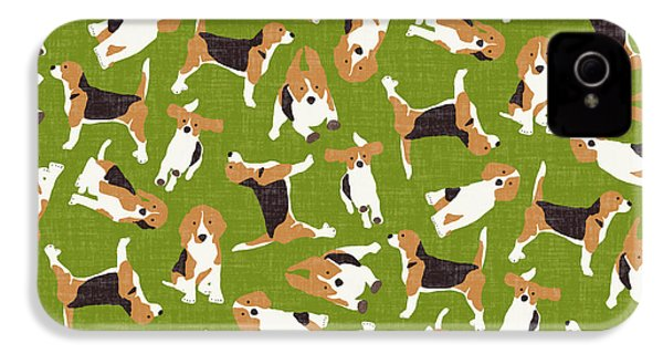 Beagle Scatter Green IPhone 4s Case by Sharon Turner