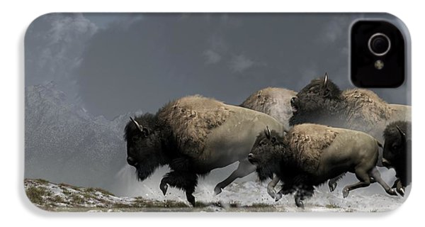 Bison Stampede IPhone 4s Case by Daniel Eskridge