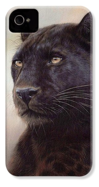 Black Leopard Painting IPhone 4s Case by Rachel Stribbling