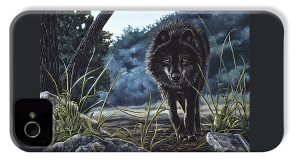 Black Wolf Hunting IPhone 4s Case by Lucie Bilodeau