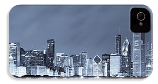 Blue Chicago Skyline IPhone 4s Case by Sebastian Musial