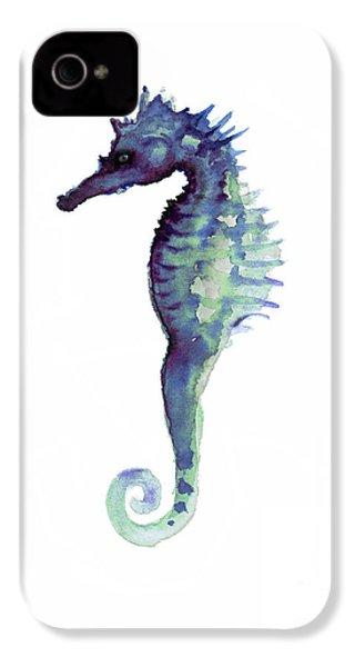 Blue Seahorse IPhone 4s Case by Joanna Szmerdt