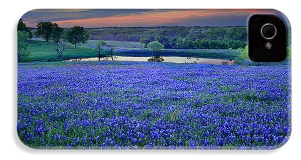 Bluebonnet Lake Vista Texas Sunset - Wildflowers Landscape Flowers Pond IPhone 4s Case