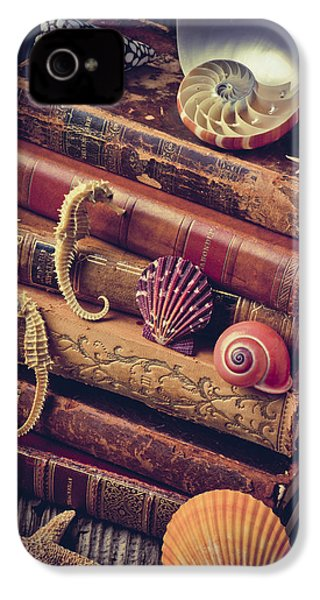 Books And Sea Shells IPhone 4s Case by Garry Gay