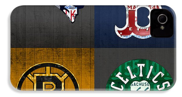 Boston Sports Fan Recycled Vintage Massachusetts License Plate Art Patriots Red Sox Bruins Celtics IPhone 4s Case