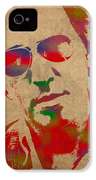 Bruce Springsteen Watercolor Portrait On Worn Distressed Canvas IPhone 4s Case by Design Turnpike