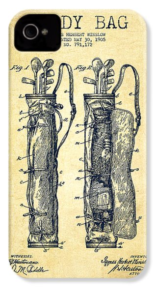 Caddy Bag Patent Drawing From 1905 - Vintage IPhone 4s Case by Aged Pixel