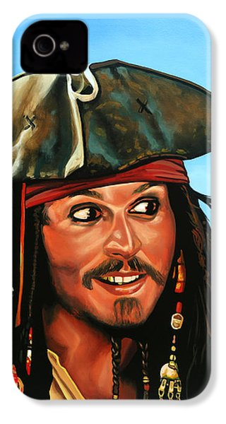 Captain Jack Sparrow Painting IPhone 4s Case by Paul Meijering